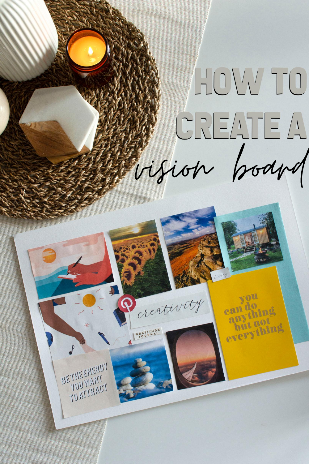 vision board complete in flatlay style photo